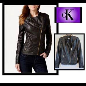 Calvin Klein black vegan moto jacket